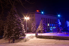 De stadsstraat van de nacht Stock Foto