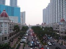 De stadsstraat van Djakarta royalty-vrije stock fotografie