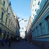 De stadsstraat van Helsinki royalty-vrije stock foto's