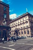 De stadsstraten van Glasgow met mensen en toeristen die, 01 lopen 08 2017 Royalty-vrije Stock Fotografie