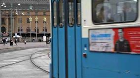 De stadstrams van Gothenburg stock video