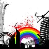 De stadsvector van de regenboog