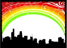 De stadsvector van de regenboog Stock Afbeelding