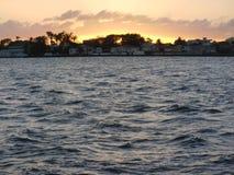 De Stadszonsondergang van Belize Stock Foto