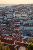 De stadszonsondergang van Lissabon Stock Afbeelding