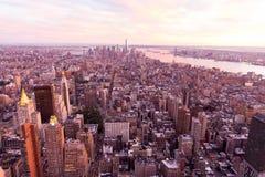 De stadszonsondergang van New York royalty-vrije stock afbeeldingen