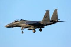 De Staking Eagle die 91-0303 van McDonnell Douglas F-15E in Zhukovsk landen stock foto