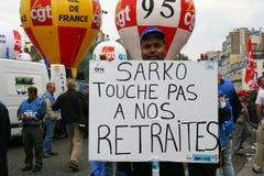 De staking van de pensioneringsleeftijd in Parijs Stock Fotografie