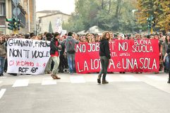 De staking van Studens tegen de overheid in Italië stock fotografie