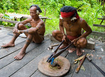 De stam van mensenmentawai bereidt vergift voor de pijlen voor de jacht voor Stock Afbeelding