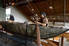 De stam van Yamanaindiërs bij het Museum van het Nationale Park van Tierra del Fuego royalty-vrije stock fotografie