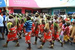 De stammendorpsbewoners van Vanuatu Stock Afbeeldingen