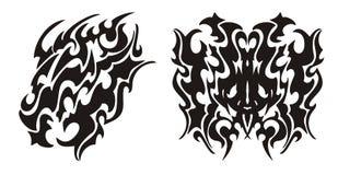 De stammendraakhoofd en tatoegering van de draakvlinder Stock Foto's