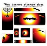De standaardinzameling van de bannershalloween van het grootteweb Stock Foto