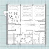 De standaardkantoormeubilairsymbolen plaatsen in architectuurplannen, bureau de reeks van het planningspictogram, grafische ontwe royalty-vrije illustratie
