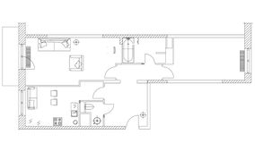 De standaardsymbolen van het huismeubilair plaatsen in architectuurplannen, huis de reeks van het planningspictogram, grafische o stock video