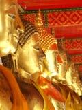 De standbeelden van Boedha, Gezicht van gouden Boedha, Royalty-vrije Stock Foto