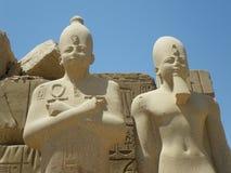 De standbeelden van de farao, Karnak Tempel, Luxor, Egypte Royalty-vrije Stock Foto's