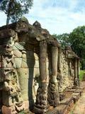 De standbeelden van de olifant in de tempel van Angkor Wat stock afbeelding