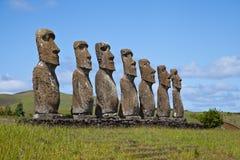 De Standbeelden van het Eiland van Pasen Royalty-vrije Stock Foto's