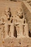 De standbeelden van Ramses in Abu Simbel Royalty-vrije Stock Foto's