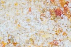 De stapel van de close-upoppervlakte van suikerzout en grond Spaanse peper voor gegeten als specerij met zure fruit geweven achte royalty-vrije stock fotografie