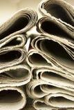 De stapel van de close-up van krant Stock Foto's