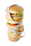 De stapel van de hamburger omhoog wordt bekeken die van Royalty-vrije Stock Fotografie