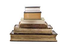 De stapel van de piramide oude boeken stock fotografie