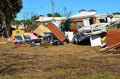 De stapel van het orkaanpuin, Haven St Joe Florida royalty-vrije stock afbeelding