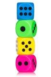 De stapel van kleurrijk dobbelt Stock Foto's