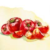 De stapel van tomatengroenten op wit wordt geïsoleerd dat Stock Foto