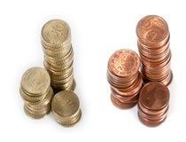 De stapels van het geld (Cent 5 en Cent 10) Stock Afbeeldingen