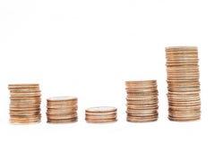 De stapels van het muntstuk Stock Foto's