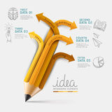 De stapoptie van Infographics van het onderwijspotlood. Stock Afbeelding
