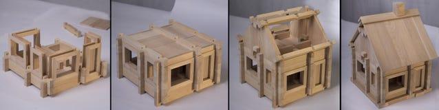 De stappen van de blokhuisassemblage Stock Foto's