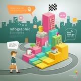 De Stappen van de Infographicgrafiek aan Succes de bedrijfsmens vector illustratie
