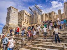 De stappen van de Parthenontempel in Athene, Griekenland Royalty-vrije Stock Afbeeldingen