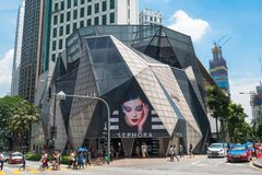 De Starhillgalerij is een luxe kleinhandelsdiewandelgalerij in het winkelen van Bukit Bintang district van KL, Maleisië wordt gev stock foto's