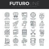 De start en Ontwikkelings Geplaatste Lijnpictogrammen van Futuro stock illustratie