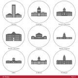 De Staten van de V.S. - die door de Capitolen Part4 worden gesymboliseerd van de Staat Stock Foto's