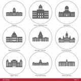 De Staten van de V.S. - door de Capitolen van de Staat worden gesymboliseerd (Deel dat stock illustratie