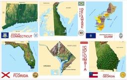 De staten van de V.S. van kaartenprovincies Stock Fotografie