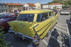 1957 de stationcar van Chevrolet Bel Air Townsman Stock Foto