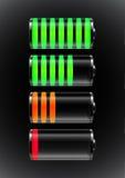 De status van de batterijlast Stock Foto's