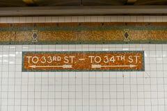 de 34ste Metro van de Straatpost - de Stad van New York Royalty-vrije Stock Afbeelding