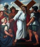 de 8ste Posten van het Kruis, Jesus ontmoet de dochters van Jeruzalem stock afbeelding