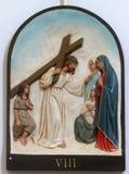 de 8ste Posten van het Kruis, Jesus ontmoet de dochters van Jeruzalem stock foto