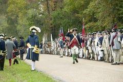 De 225ste Verjaardag van de Overwinning in Yorktown, het weer invoeren van de belegering van Yorktown, waar Algemeen George Washi Royalty-vrije Stock Foto's