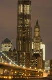 De stedelijke Horizon van de Nacht Stock Afbeelding